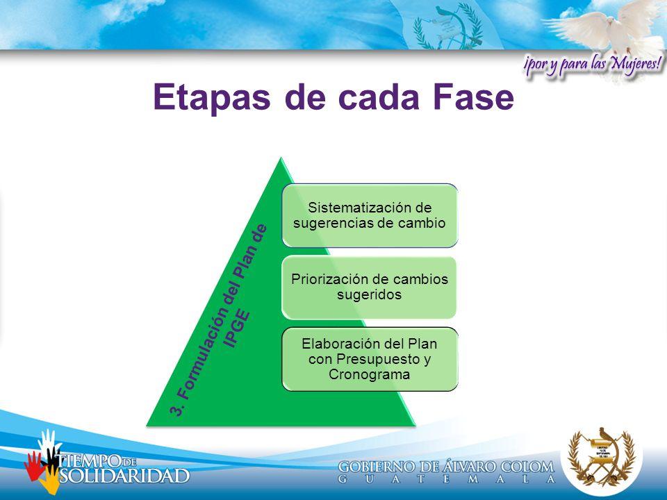 Sistematización de sugerencias de cambio Priorización de cambios sugeridos Elaboración del Plan con Presupuesto y Cronograma 3. Formulación del Plan d