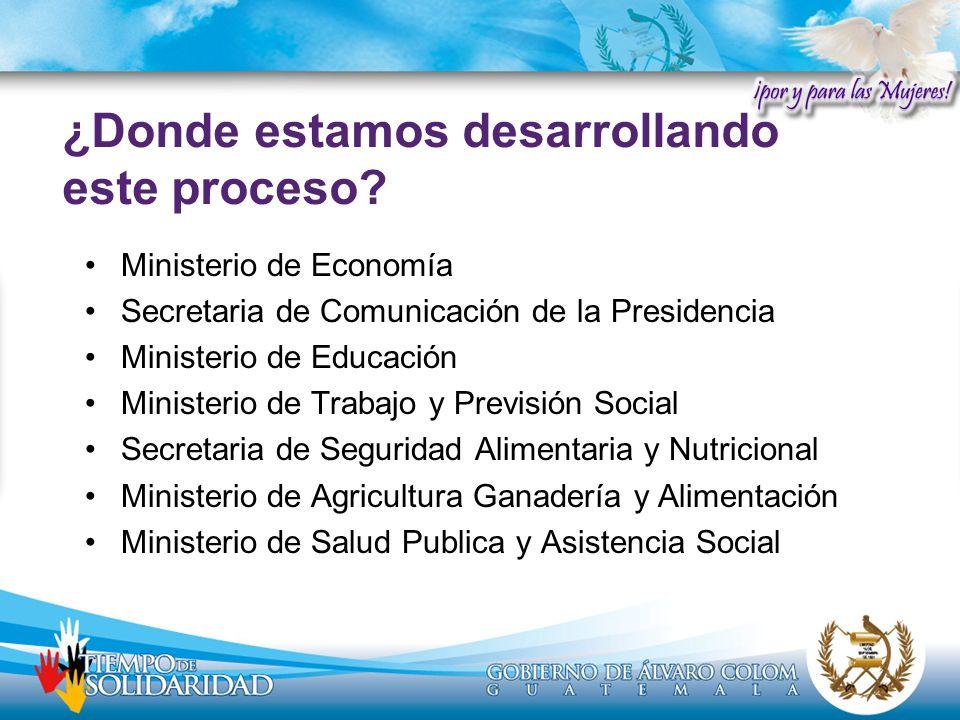 Ministerio de Economía Secretaria de Comunicación de la Presidencia Ministerio de Educación Ministerio de Trabajo y Previsión Social Secretaria de Seg