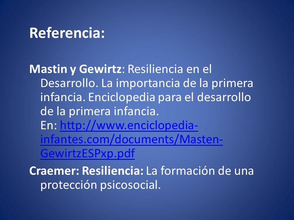 Referencia: Mastin y Gewirtz: Resiliencia en el Desarrollo.