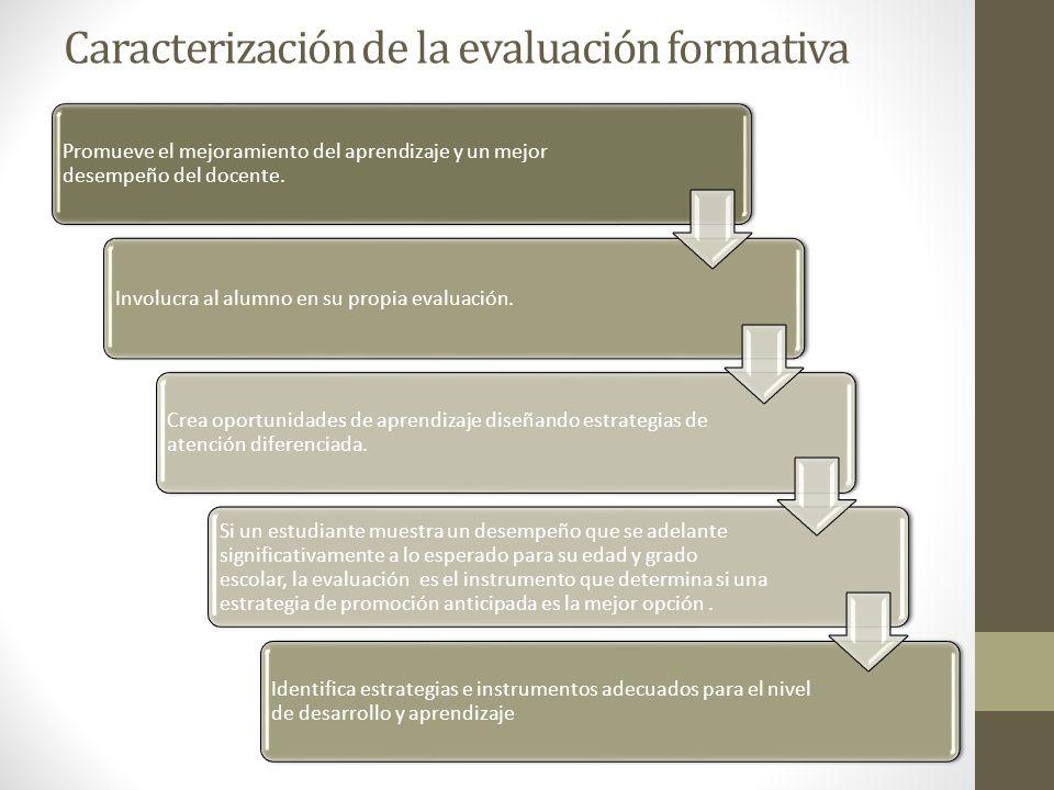 Caracterización de la evaluación formativa Promueve el mejoramiento del aprendizaje y un mejor desempeño del docente. Involucra al alumno en su propia