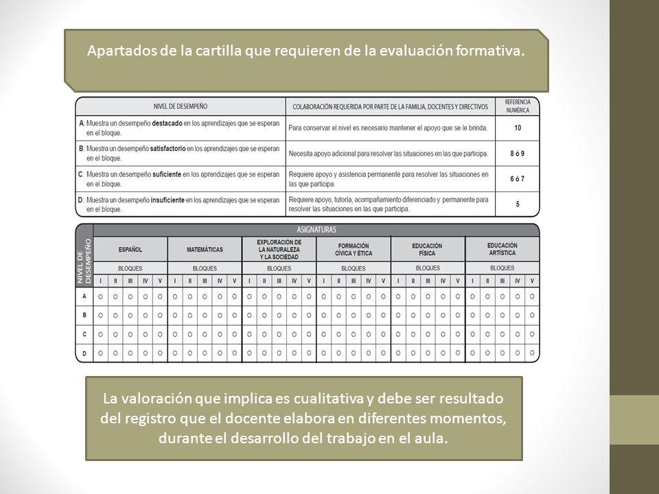 La valoración que implica es cualitativa y debe ser resultado del registro que el docente elabora en diferentes momentos, durante el desarrollo del tr