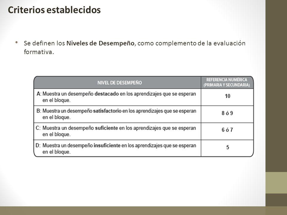 Se definen los Niveles de Desempeño, como complemento de la evaluación formativa. Criterios establecidos