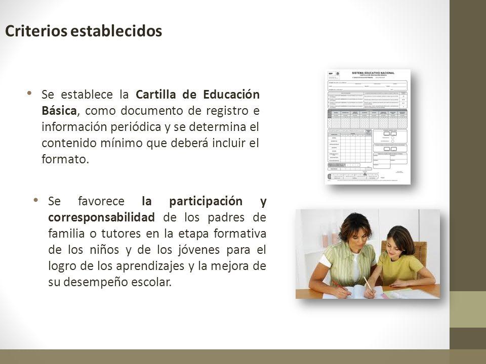 Se establece la Cartilla de Educación Básica, como documento de registro e información periódica y se determina el contenido mínimo que deberá incluir
