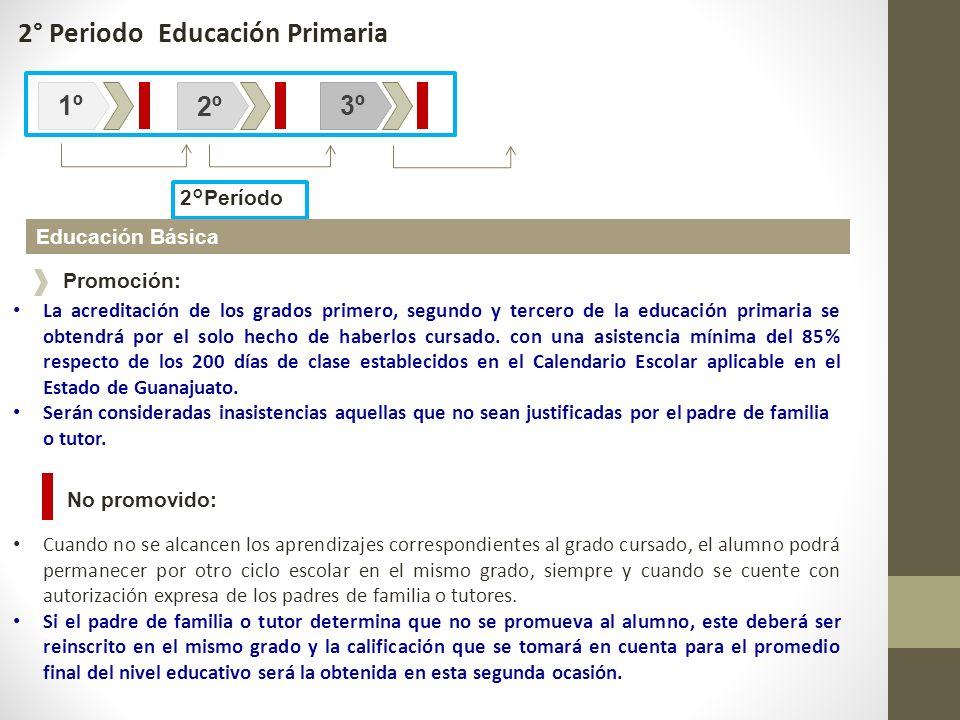 2°Período 1º2º3º Educación Básica La acreditación de los grados primero, segundo y tercero de la educación primaria se obtendrá por el solo hecho de h
