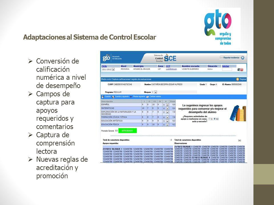 Adaptaciones al Sistema de Control Escolar Conversión de calificación numérica a nivel de desempeño Campos de captura para apoyos requeridos y comenta