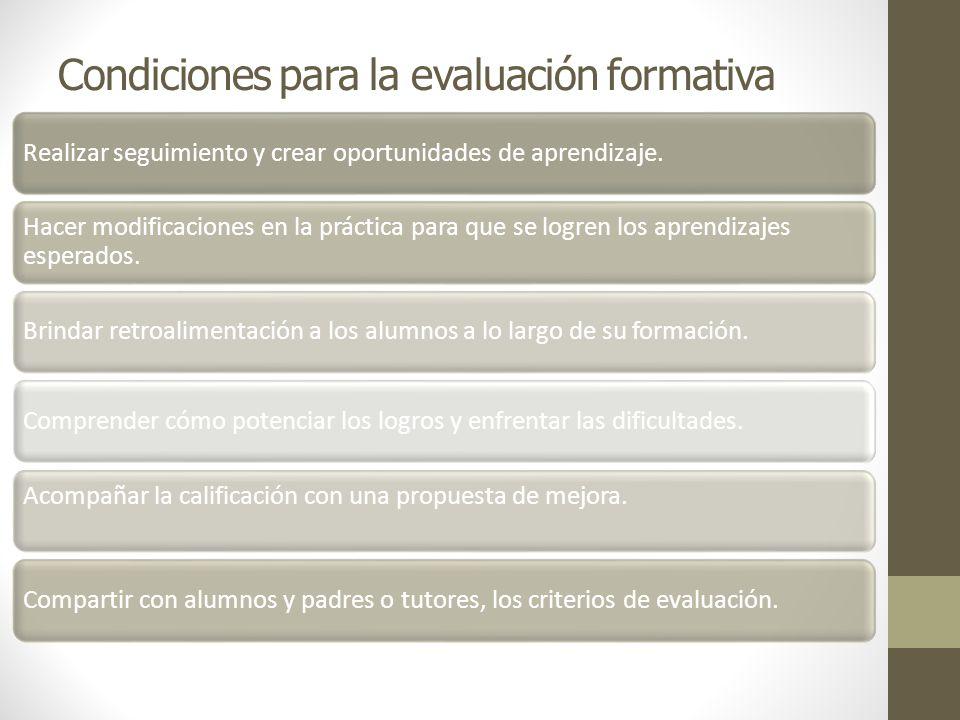 Condiciones para la evaluación formativa Realizar seguimiento y crear oportunidades de aprendizaje. Hacer modificaciones en la práctica para que se lo