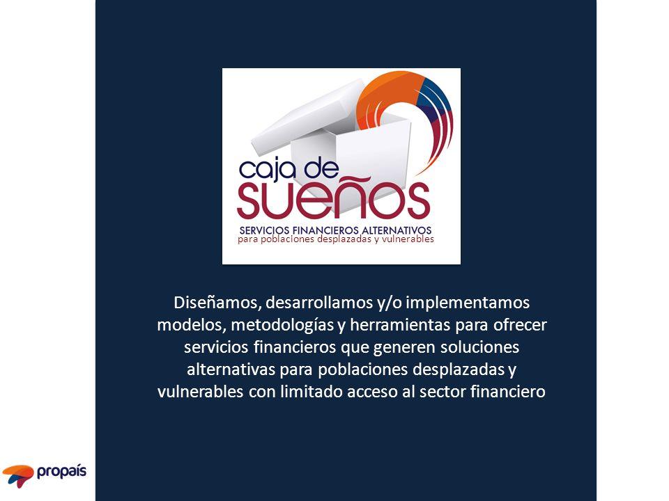 Diseñamos, desarrollamos y/o implementamos modelos, metodologías y herramientas para ofrecer servicios financieros que generen soluciones alternativas