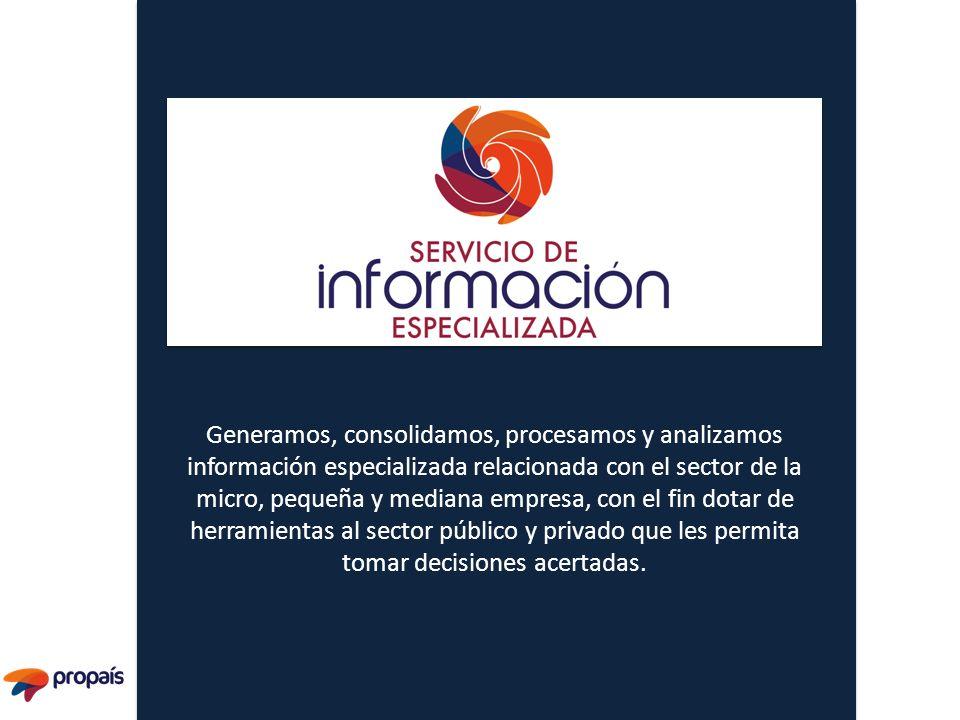 Generamos, consolidamos, procesamos y analizamos información especializada relacionada con el sector de la micro, pequeña y mediana empresa, con el fi