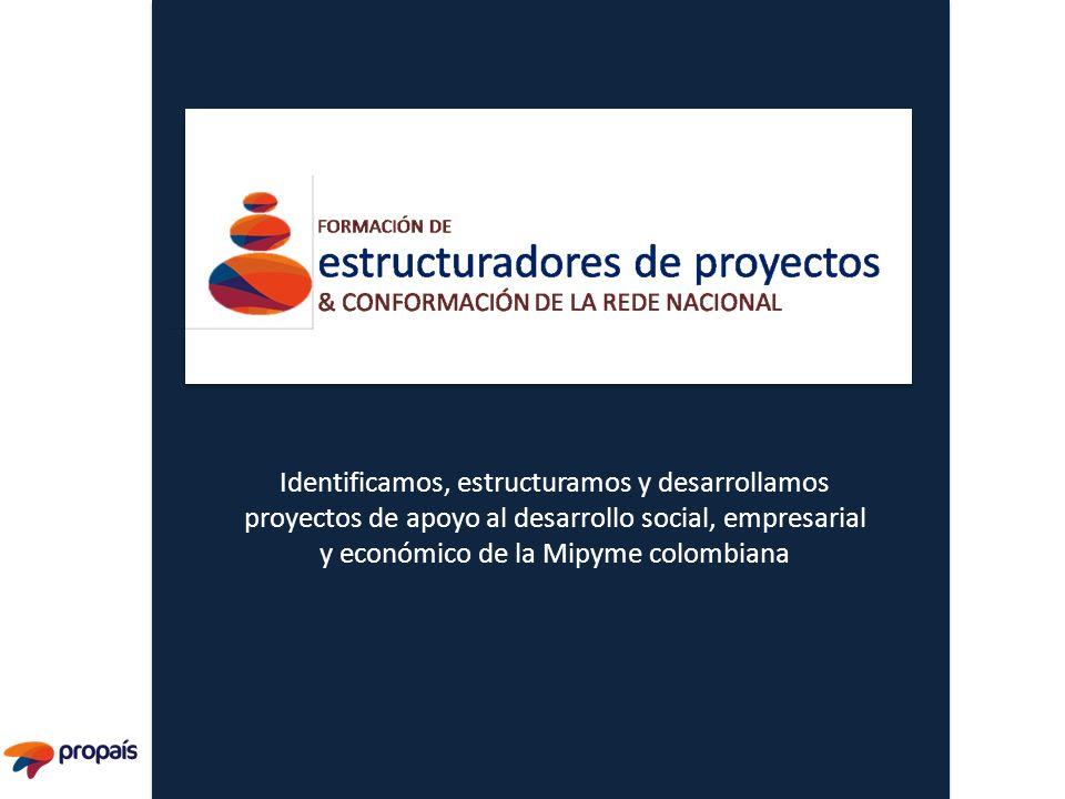 Identificamos, estructuramos y desarrollamos proyectos de apoyo al desarrollo social, empresarial y económico de la Mipyme colombiana