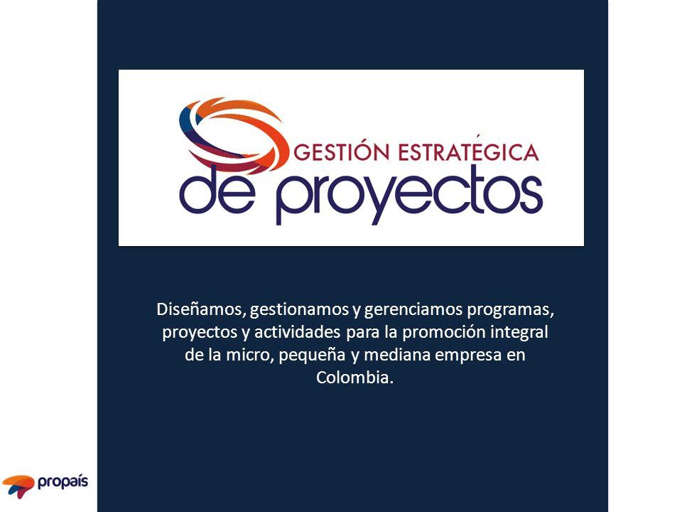 Diseñamos, gestionamos y gerenciamos programas, proyectos y actividades para la promoción integral de la micro, pequeña y mediana empresa en Colombia.