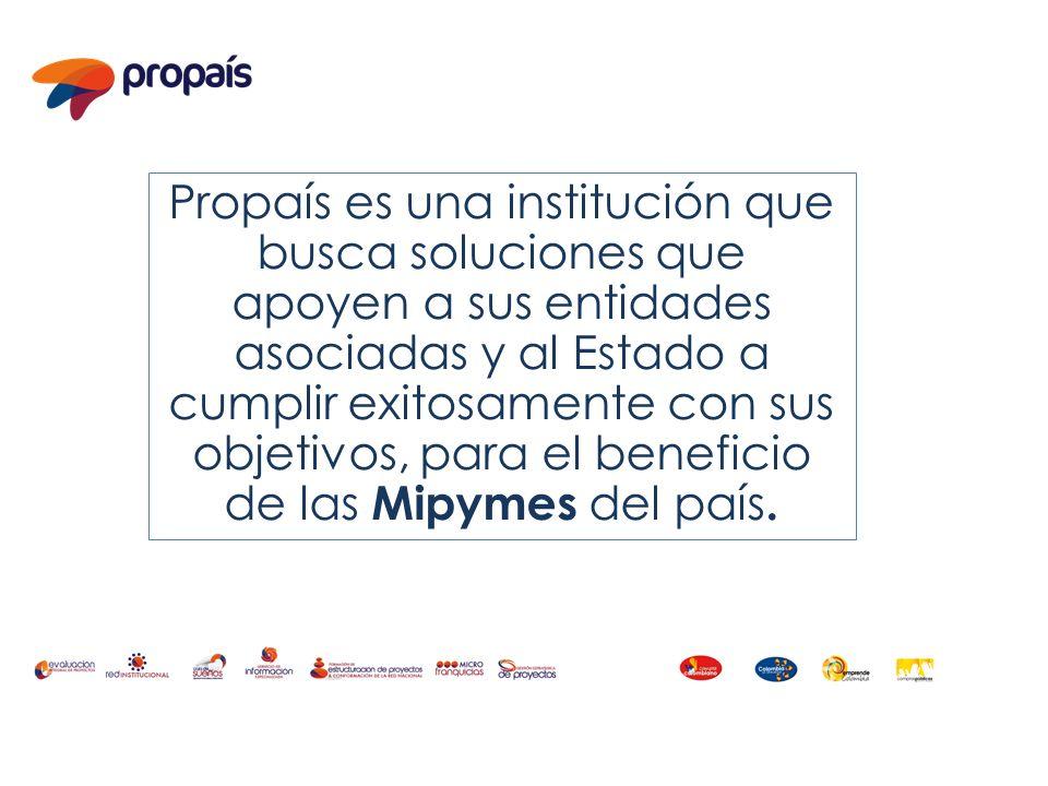 Propaís es una institución que busca soluciones que apoyen a sus entidades asociadas y al Estado a cumplir exitosamente con sus objetivos, para el ben