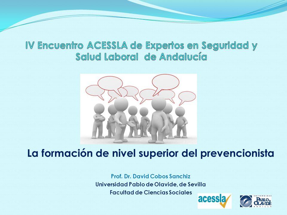 La formación de nivel superior del prevencionista Prof. Dr. David Cobos Sanchiz Universidad Pablo de Olavide, de Sevilla Facultad de Ciencias Sociales