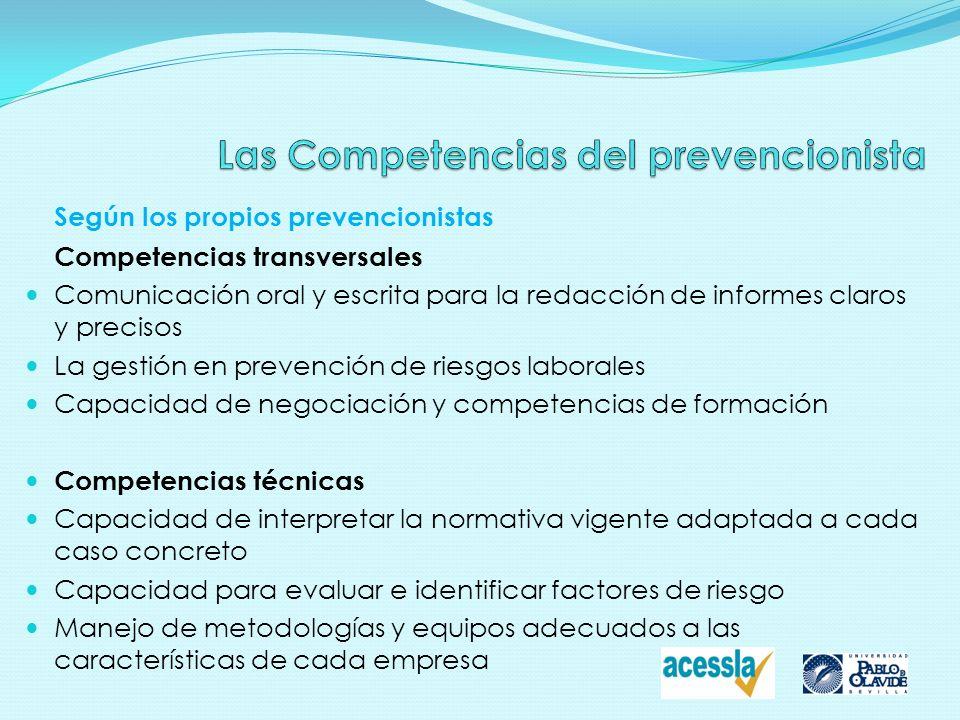 Según los propios prevencionistas Competencias transversales Comunicación oral y escrita para la redacción de informes claros y precisos La gestión en