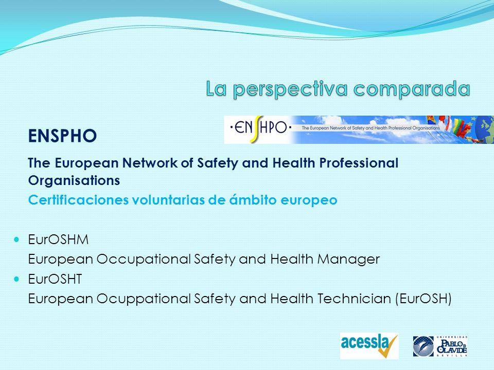 ENSPHO The European Network of Safety and Health Professional Organisations Certificaciones voluntarias de ámbito europeo EurOSHM European Occupationa