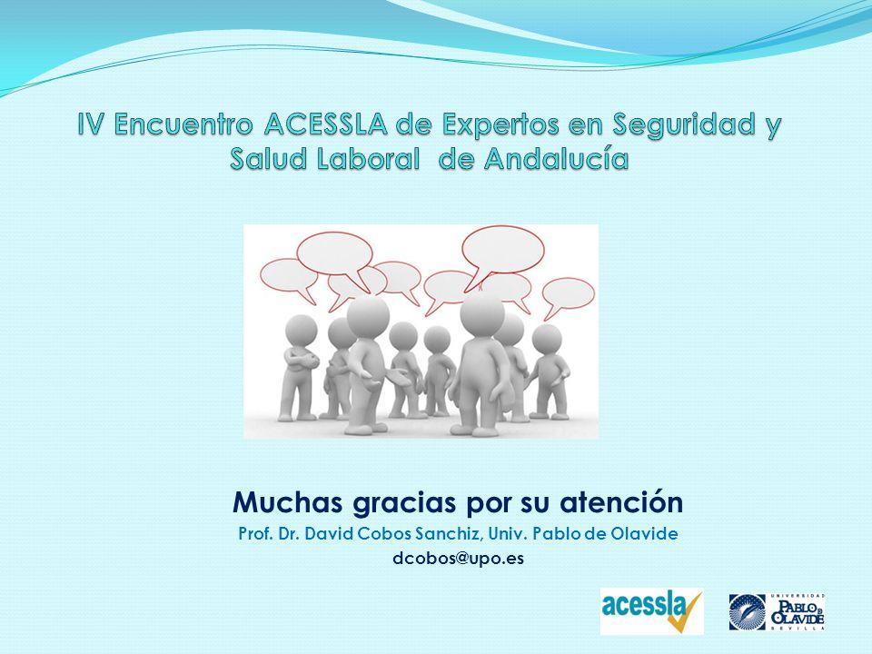 Muchas gracias por su atención Prof. Dr. David Cobos Sanchiz, Univ. Pablo de Olavide dcobos@upo.es