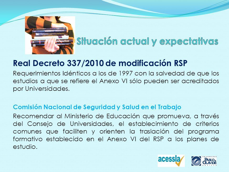 Real Decreto 337/2010 de modificación RSP Requerimientos Idénticos a los de 1997 con la salvedad de que los estudios a que se refiere el Anexo VI sólo
