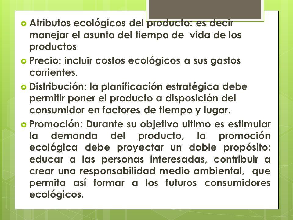 Atributos ecológicos del producto: es decir manejar el asunto del tiempo de vida de los productos Precio: incluir costos ecológicos a sus gastos corrientes.