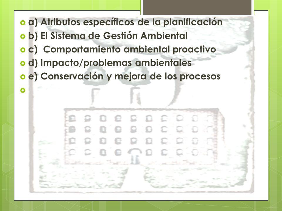 : a) Atributos específicos de la planificación b) El Sistema de Gestión Ambiental c) Comportamiento ambiental proactivo d) Impacto/problemas ambientales e) Conservación y mejora de los procesos