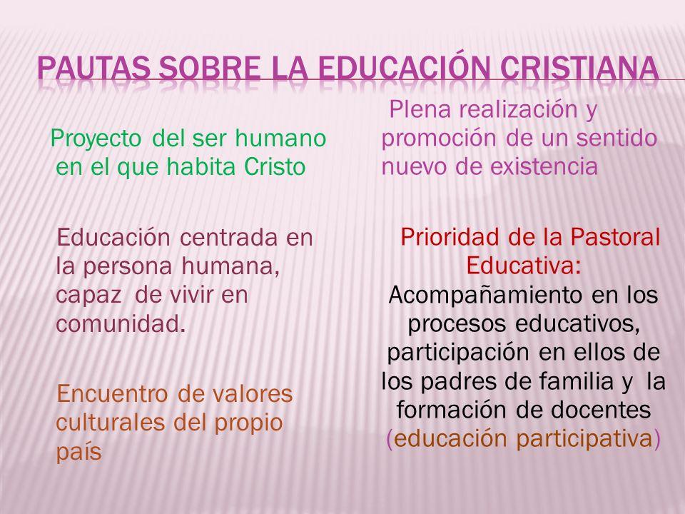 Proyecto del ser humano en el que habita Cristo Educación centrada en la persona humana, capaz de vivir en comunidad. Encuentro de valores culturales