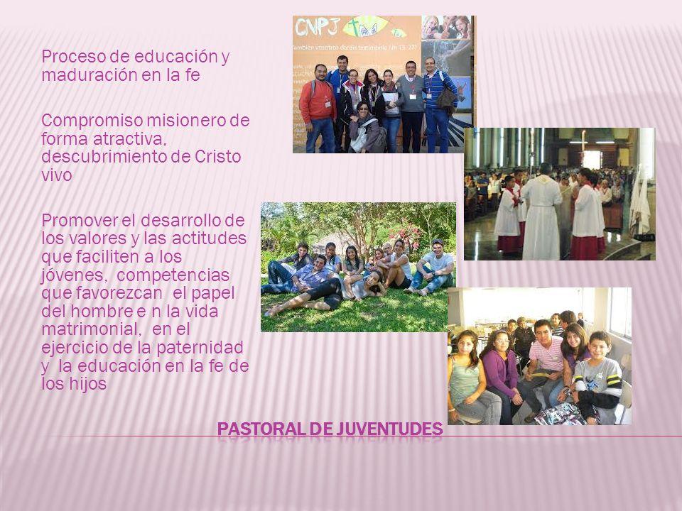 Proceso de educación y maduración en la fe Compromiso misionero de forma atractiva, descubrimiento de Cristo vivo Promover el desarrollo de los valore