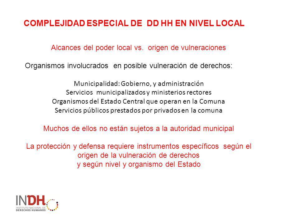 COMPLEJIDAD ESPECIAL DE DD HH EN NIVEL LOCAL Alcances del poder local vs.