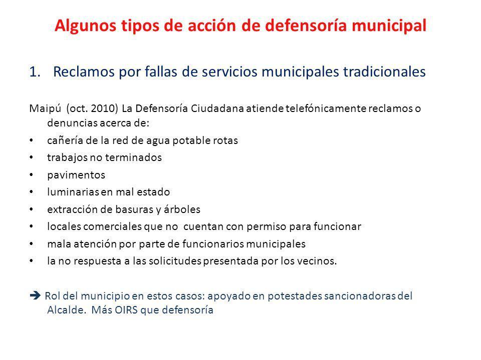 Algunos tipos de acción de defensoría municipal 1.Reclamos por fallas de servicios municipales tradicionales Maipú (oct.