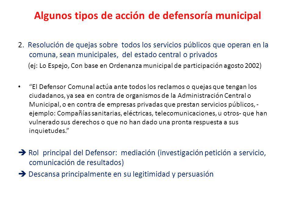 Algunos tipos de acción de defensoría municipal 2.