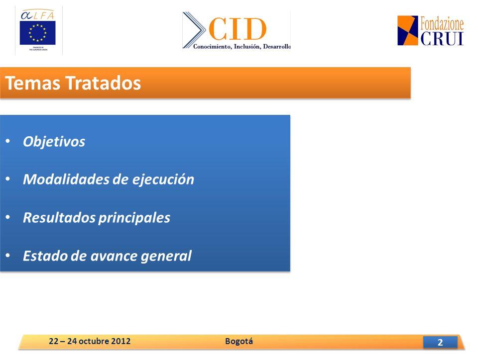 2 2 Temas Tratados Objetivos Modalidades de ejecución Resultados principales Estado de avance general Objetivos Modalidades de ejecución Resultados principales Estado de avance general Bogotá22 – 24 octubre 2012