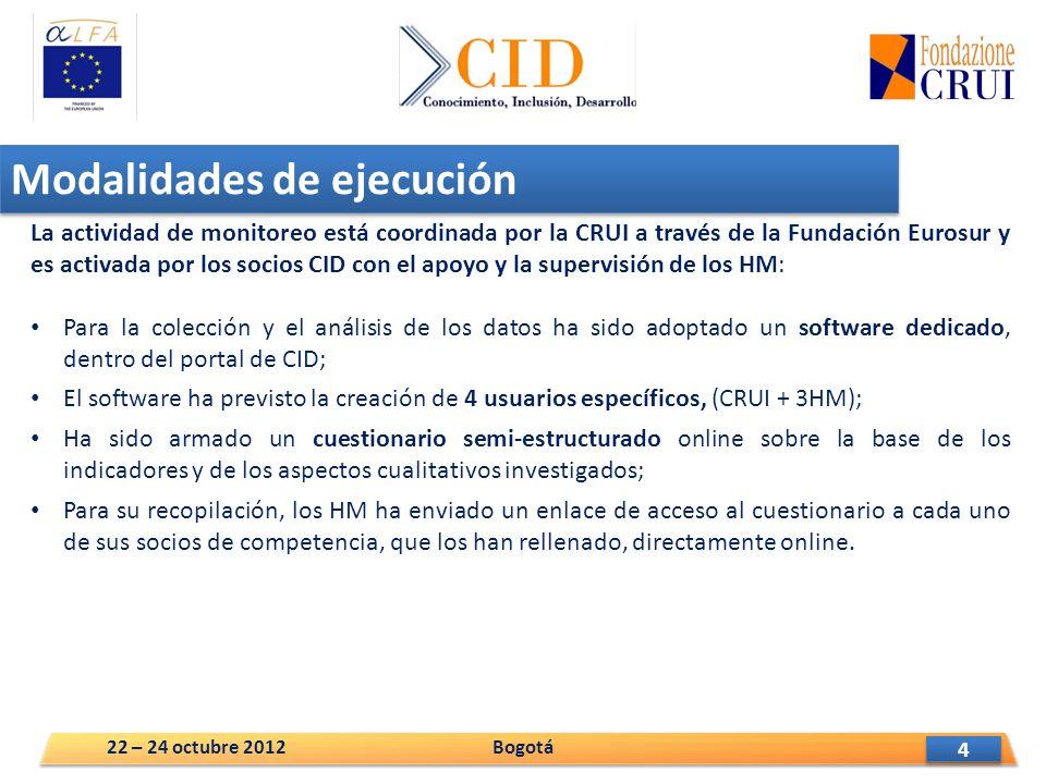 4 4 Modalidades de ejecución La actividad de monitoreo está coordinada por la CRUI a través de la Fundación Eurosur y es activada por los socios CID con el apoyo y la supervisión de los HM: Para la colección y el análisis de los datos ha sido adoptado un software dedicado, dentro del portal de CID; El software ha previsto la creación de 4 usuarios específicos, (CRUI + 3HM); Ha sido armado un cuestionario semi-estructurado online sobre la base de los indicadores y de los aspectos cualitativos investigados; Para su recopilación, los HM ha enviado un enlace de acceso al cuestionario a cada uno de sus socios de competencia, que los han rellenado, directamente online.
