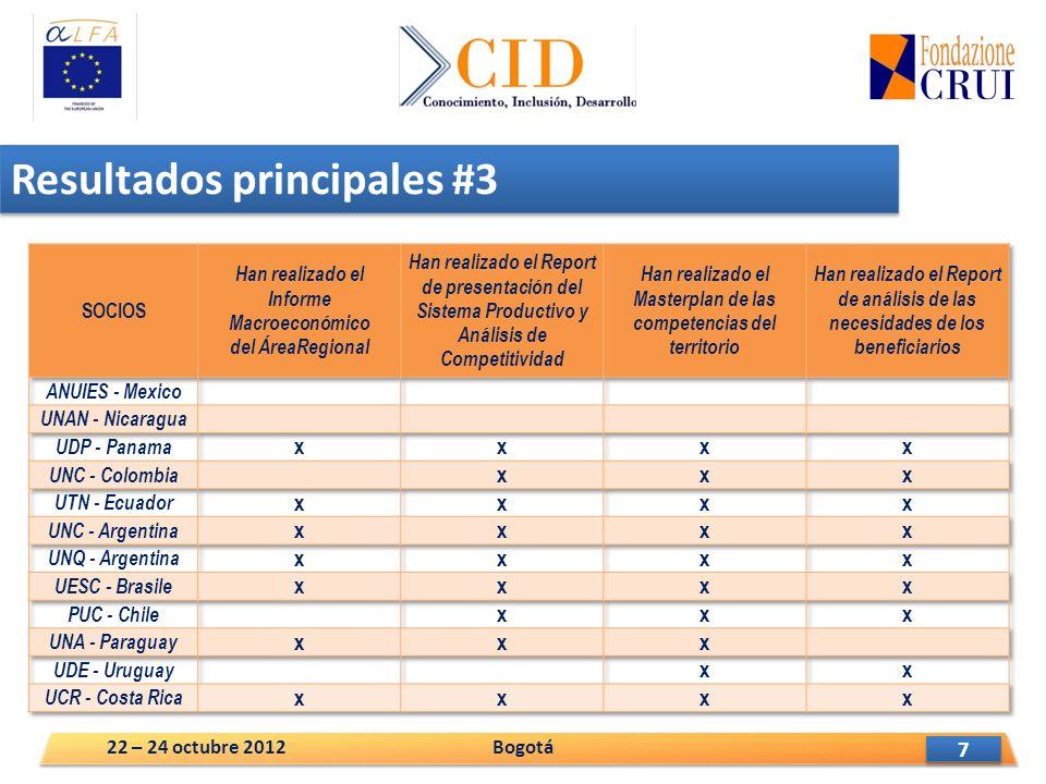 8 8 Resultados principales #4 Bogotá22 – 24 octubre 2012