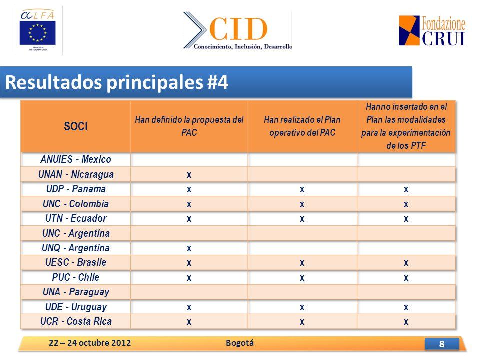 9 9 Resultados principales #5 Bogotá22 – 24 octubre 2012