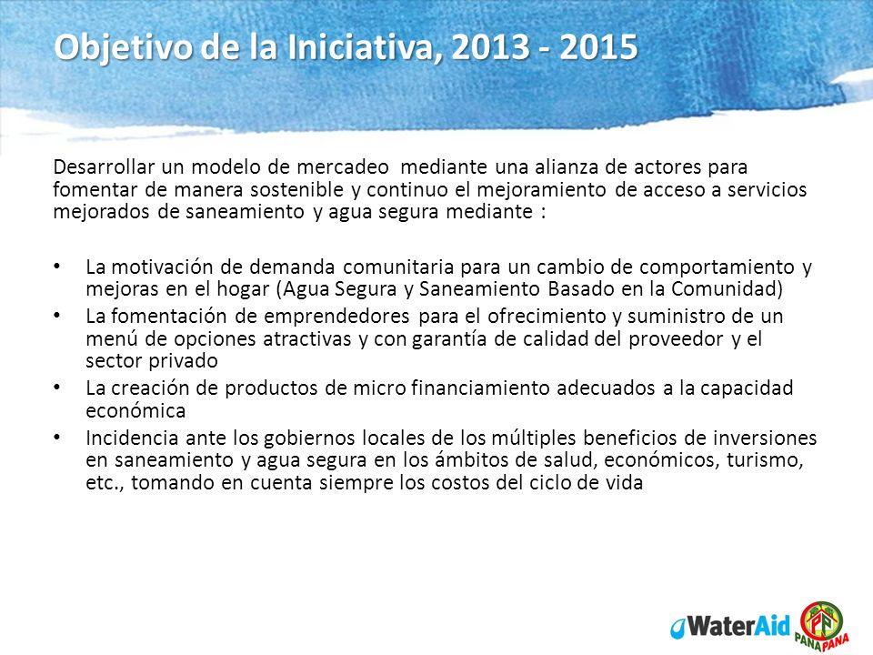 WaterAid in Nicaragua Program 2012 - 14 Objetivo de la Iniciativa, 2013 - 2015 Desarrollar un modelo de mercadeo mediante una alianza de actores para