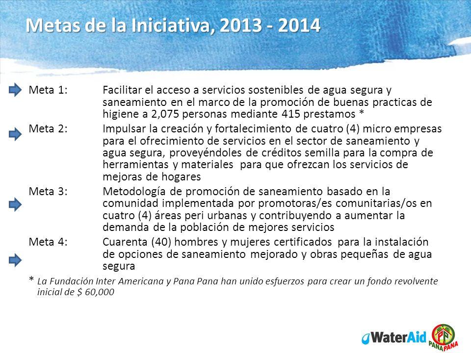WaterAid in Nicaragua Program 2012 - 14 Metas de la Iniciativa, 2013 - 2014 Meta 1:Facilitar el acceso a servicios sostenibles de agua segura y saneam