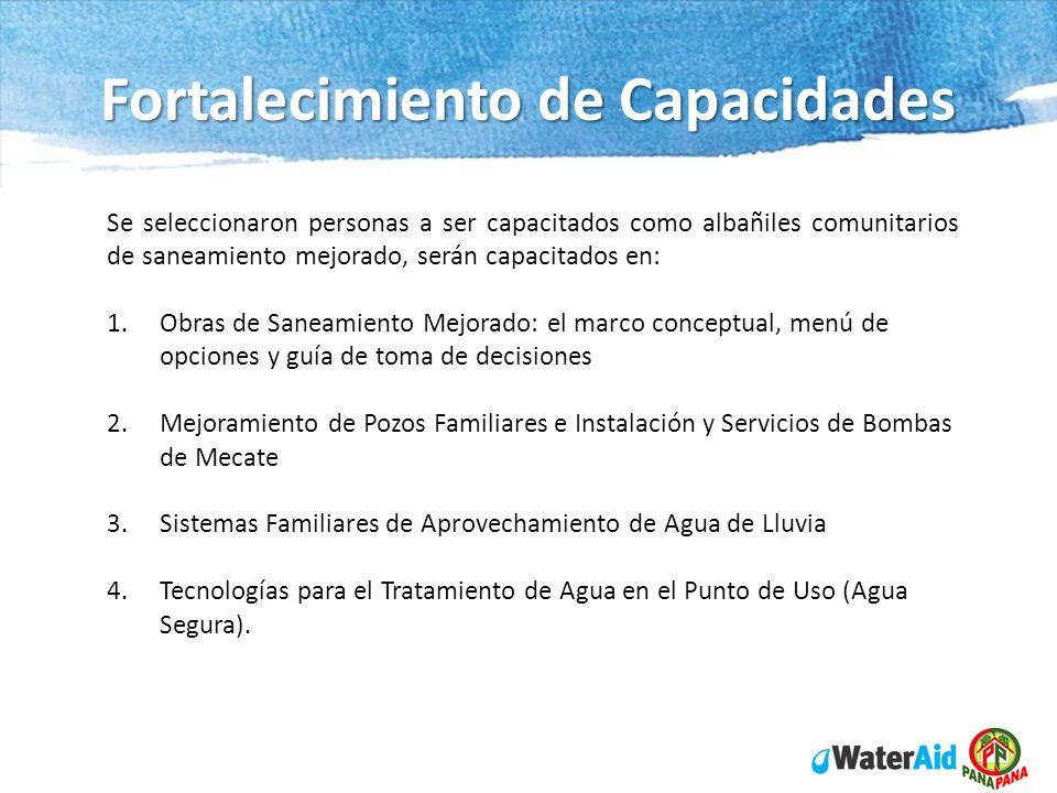 Fortalecimiento de Capacidades Se seleccionaron personas a ser capacitados como albañiles comunitarios de saneamiento mejorado, serán capacitados en: