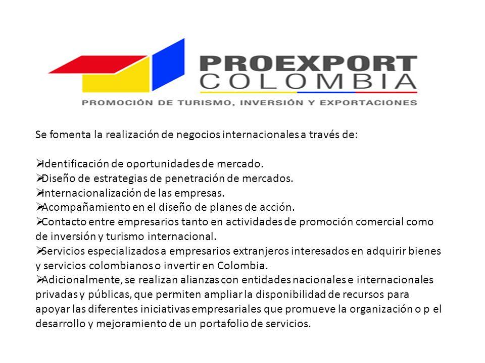Se fomenta la realización de negocios internacionales a través de: Identificación de oportunidades de mercado.