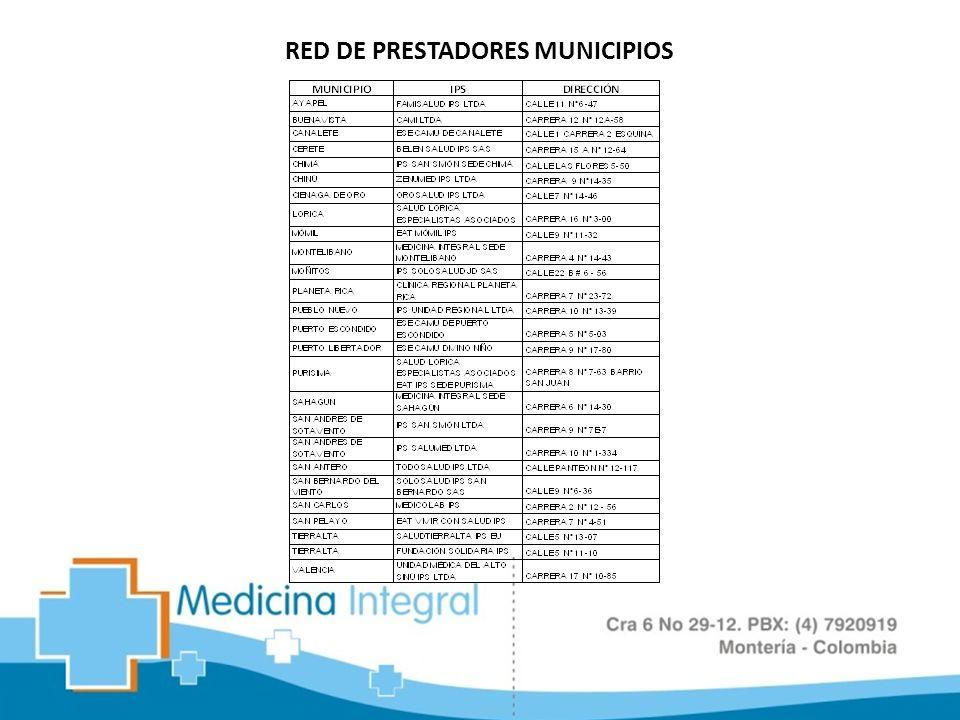RED DE PRESTADORES MUNICIPIOS
