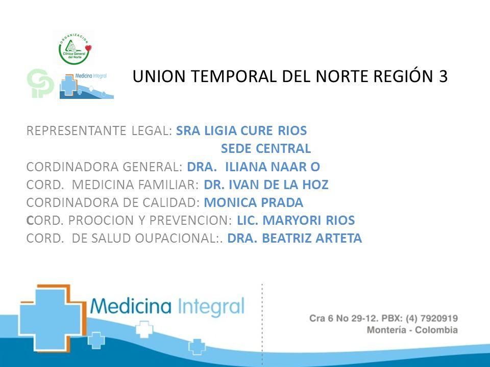 UNION TEMPORAL DEL NORTE REGIÓN 3 REPRESENTANTE LEGAL: SRA LIGIA CURE RIOS SEDE CENTRAL CORDINADORA GENERAL: DRA. ILIANA NAAR O CORD. MEDICINA FAMILIA