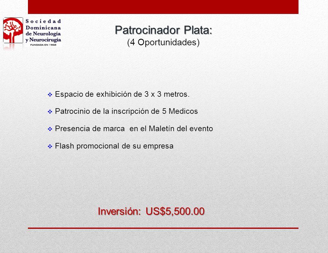 Espacio de exhibición de 3 x 3 metros. Inversión: US$3,500.00 Patrocinador Bronce