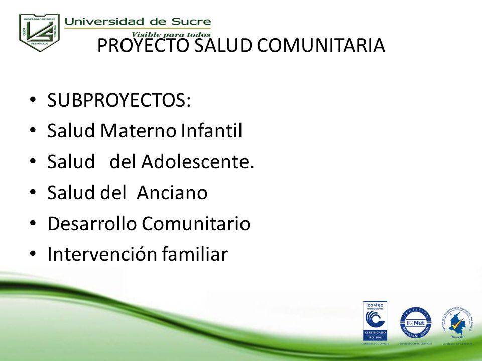 PROYECTO SALUD COMUNITARIA SUBPROYECTOS: Salud Materno Infantil Salud del Adolescente.