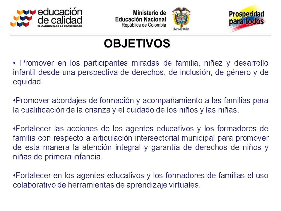 OBJETIVOS Promover en los participantes miradas de familia, niñez y desarrollo infantil desde una perspectiva de derechos, de inclusión, de género y de equidad.