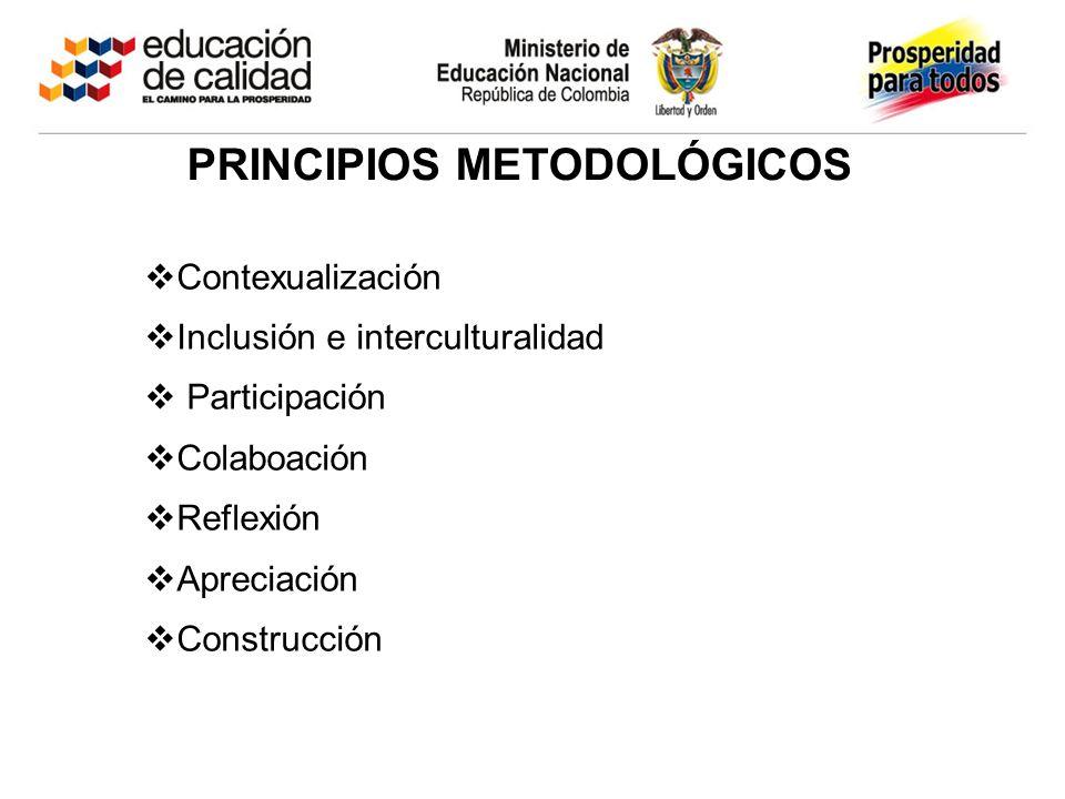 PRINCIPIOS METODOLÓGICOS Contexualización Inclusión e interculturalidad Participación Colaboación Reflexión Apreciación Construcción