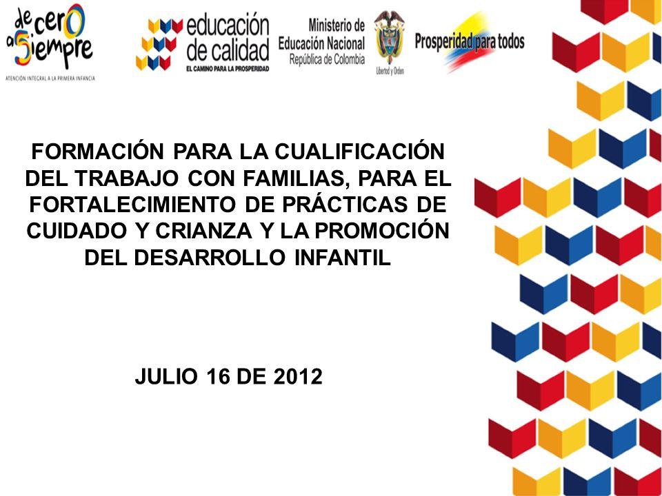 FORMACIÓN PARA LA CUALIFICACIÓN DEL TRABAJO CON FAMILIAS, PARA EL FORTALECIMIENTO DE PRÁCTICAS DE CUIDADO Y CRIANZA Y LA PROMOCIÓN DEL DESARROLLO INFANTIL JULIO 16 DE 2012