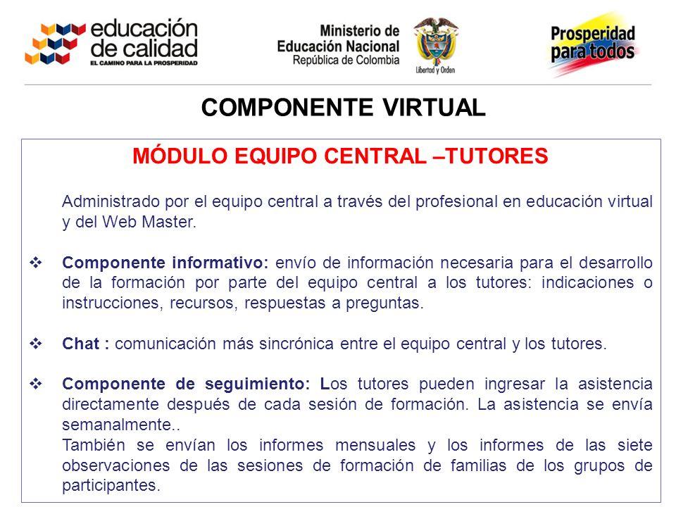 COMPONENTE VIRTUAL MÓDULO EQUIPO CENTRAL –TUTORES Administrado por el equipo central a través del profesional en educación virtual y del Web Master.