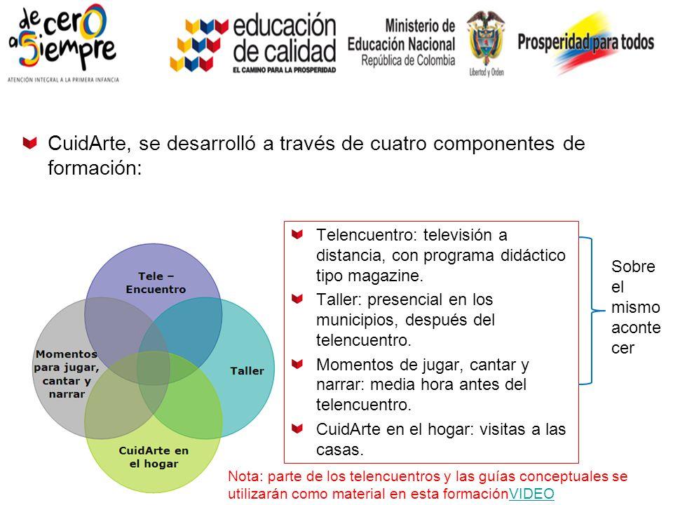 CuidArte, se desarrolló a través de cuatro componentes de formación: Telencuentro: televisión a distancia, con programa didáctico tipo magazine.