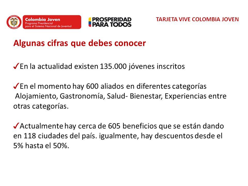 TARJETA VIVE COLOMBIA JOVEN Algunas cifras que debes conocer En la actualidad existen 135.000 jóvenes inscritos En el momento hay 600 aliados en difer