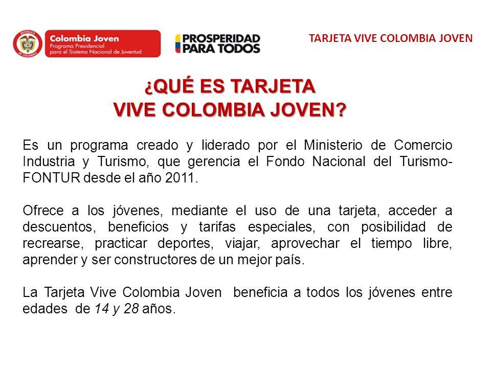 TARJETA VIVE COLOMBIA JOVEN Estos son algunas de las Alianzas que la Tarjeta Joven tiene para ti En Cali, Avioteles ofrece un 15% de Descuento en Tarjetas de Asistencia Médica Destinos Internacionales, 5% de Descuento en Paquetes Turísticos Destinos Nacionales.