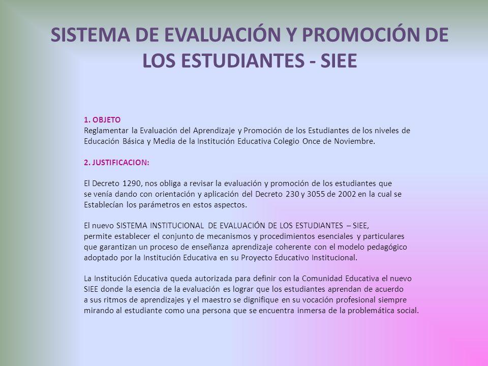 SISTEMA DE EVALUACIÓN Y PROMOCIÓN DE LOS ESTUDIANTES - SIEE 1. OBJETO Reglamentar la Evaluación del Aprendizaje y Promoción de los Estudiantes de los