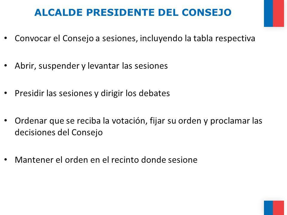 ALCALDE PRESIDENTE DEL CONSEJO Convocar el Consejo a sesiones, incluyendo la tabla respectiva Abrir, suspender y levantar las sesiones Presidir las se