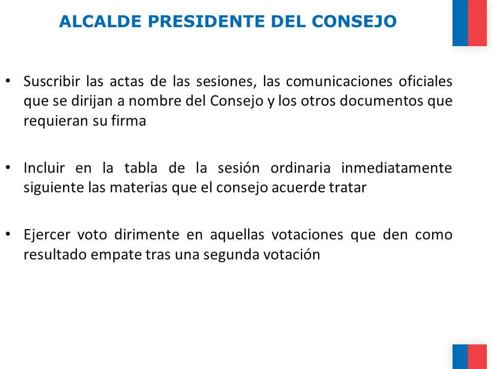 ALCALDE PRESIDENTE DEL CONSEJO Suscribir las actas de las sesiones, las comunicaciones oficiales que se dirijan a nombre del Consejo y los otros docum