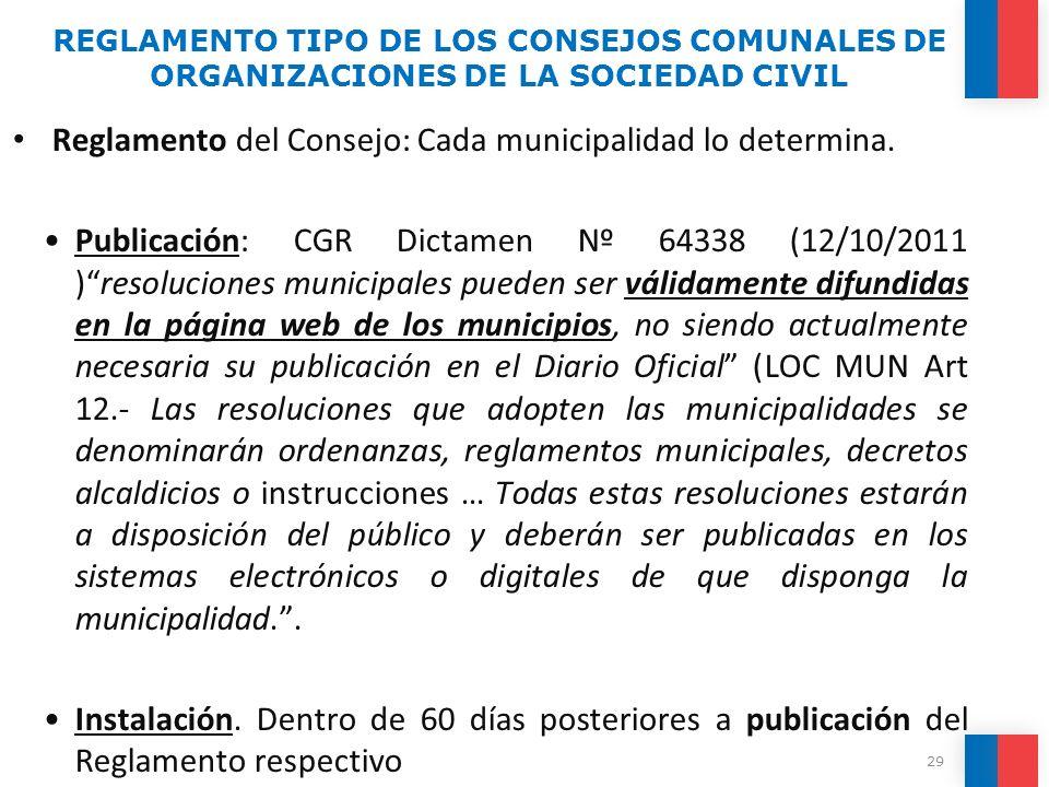 Reglamento del Consejo: Cada municipalidad lo determina. Publicación: CGR Dictamen Nº 64338 (12/10/2011 )resoluciones municipales pueden ser válidamen